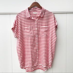 Beach Lunch Lounge Striped Button Up